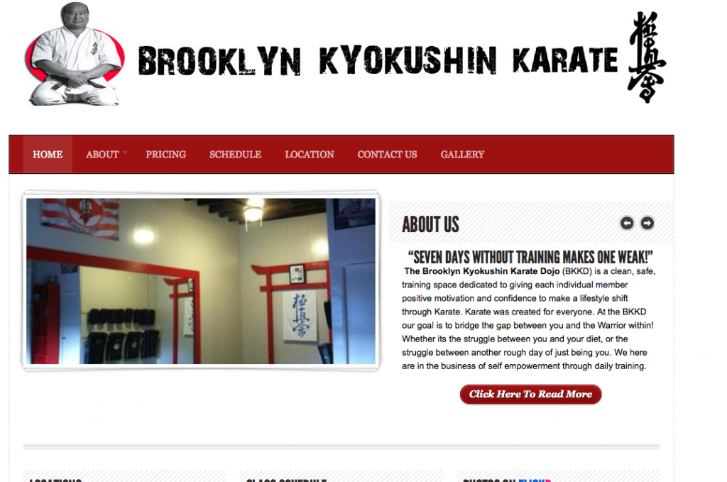 website design Brooklyn Kyokushin Karate