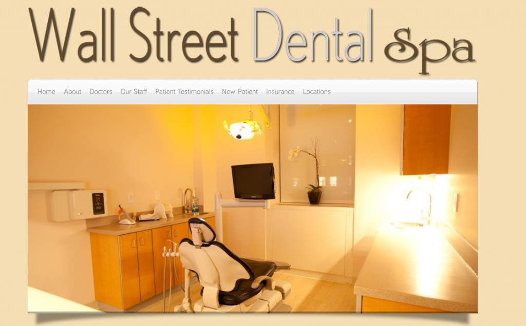 wall street dental spa website design